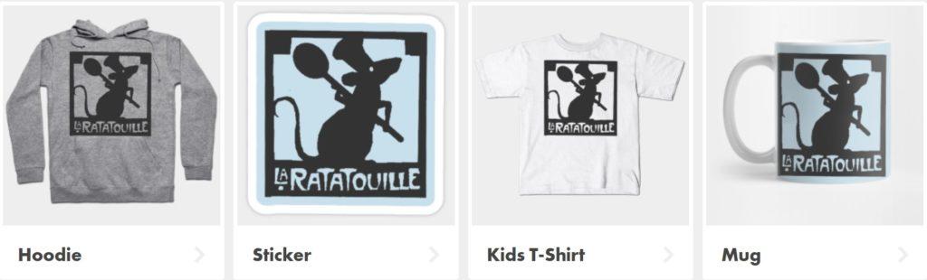 La Ratatouille merchandise from tee public.