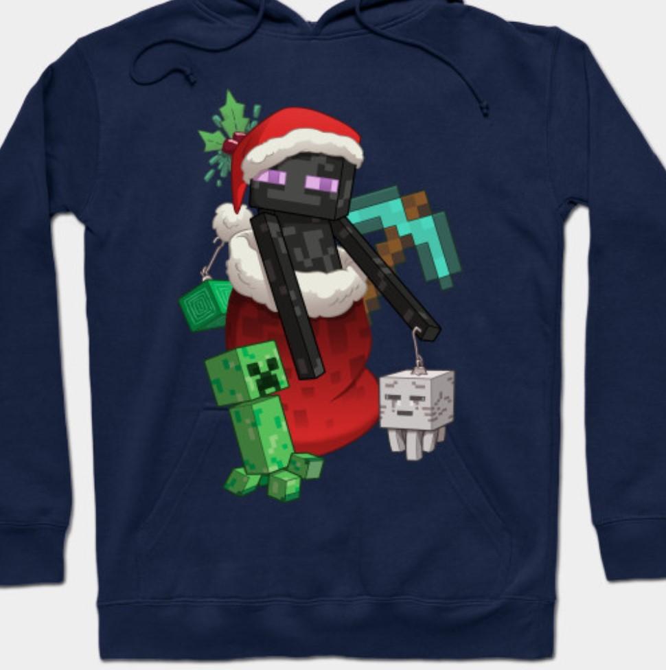 Christmas minecraft sweatshirt.