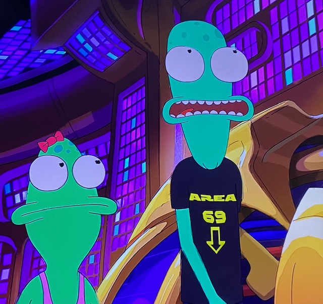 Terry's shirt in Solar Opposites that says Area 69.