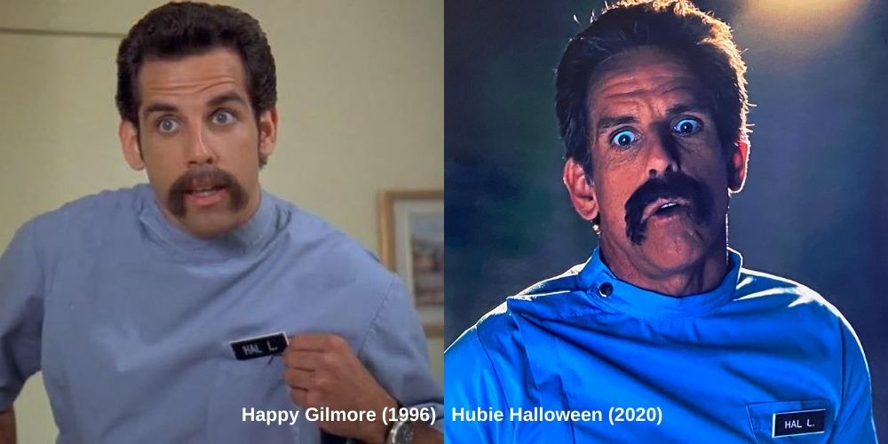 Ben Stiller as Hal L in Hubie Halloween and Happy Gilmore.