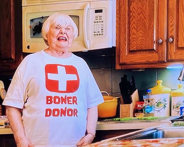Hubie Halloween mom's shirt says boner doner.