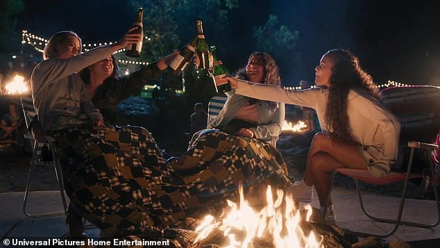 American Pie Girls Rules characters drinking around a bonfire.