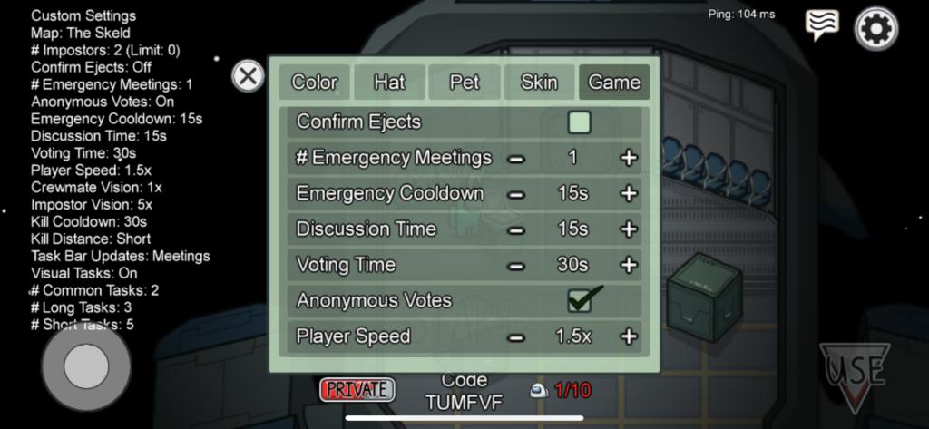 Among Us game settings.