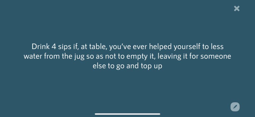 Prompt from the Piccolo drinking game app.