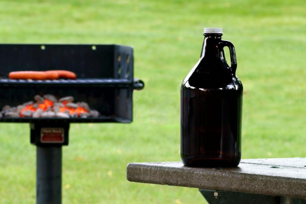 Beer growler at a cookout.