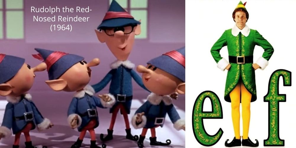 Costumes in Elf and Rudolph the Red Nosed Reindeer.