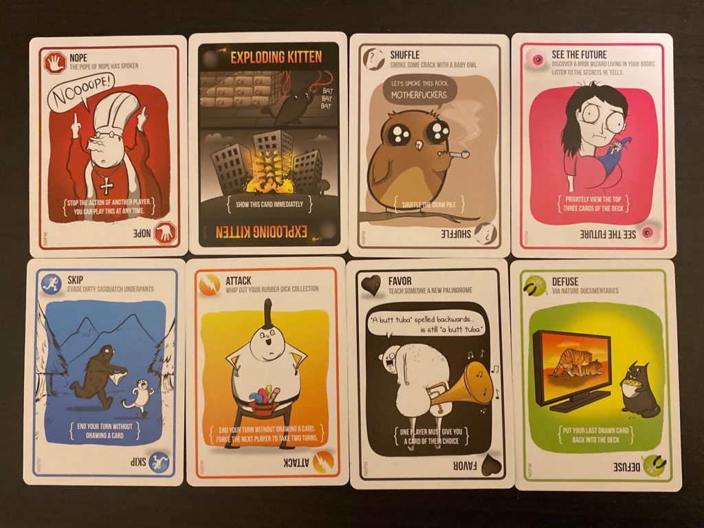 Cards from the Exploding Kittens deck.