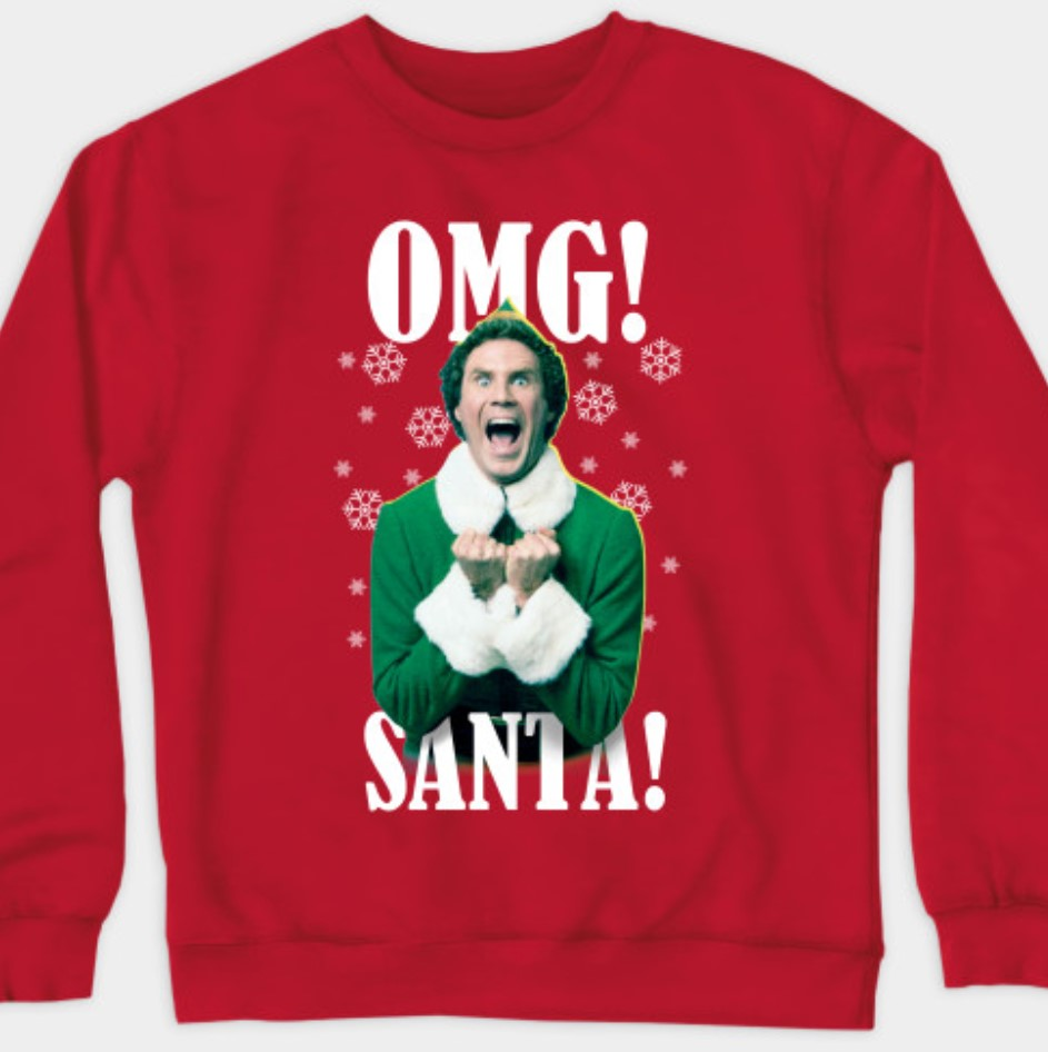 OMG santa elf sweater.