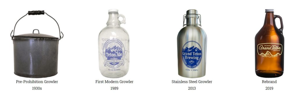 Evolution of growlers from Grand Teton Brewing.