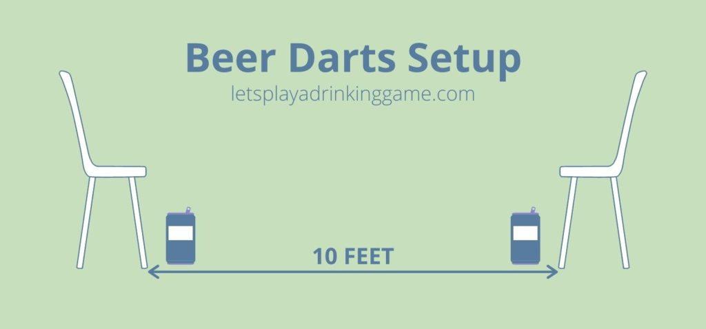 Beer darts game setup.