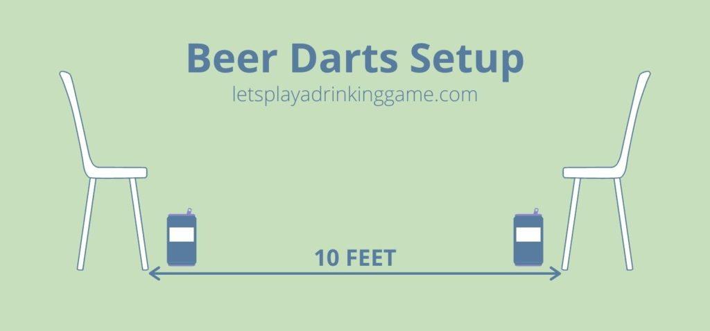 Beer darts game setup.