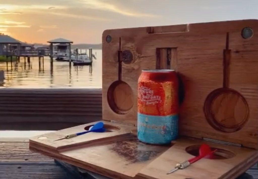 Beer darts on the lake.