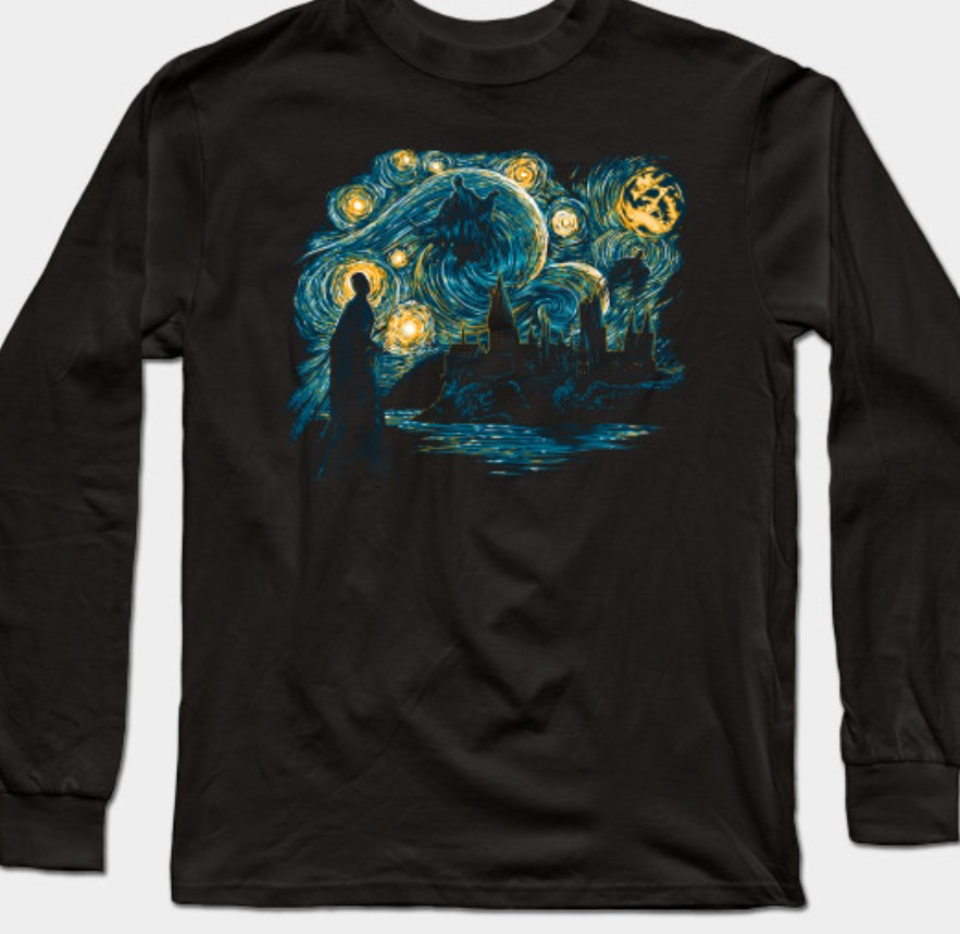 Harry Potter tshirt in the style of Van Gogh.
