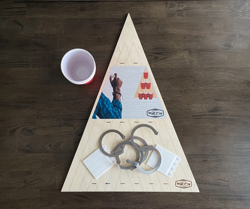 Free Pong drinking game wooden board and accessories.