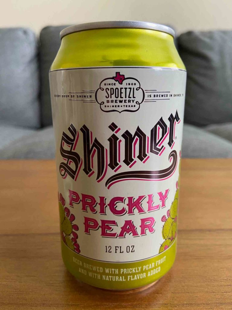 Closeup of Shiner Prickly Pear beer can.