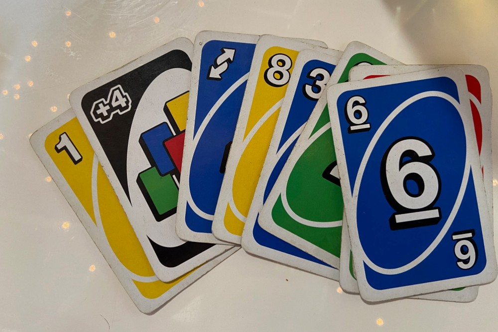 Uno cards spread on a table.